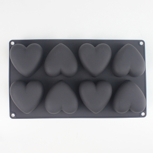 8 cups 3D heart silicone mold