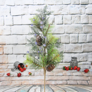 75Cm Artificial Decorative Christmas Spray With Pine Cone/Glitter/Blue Berry