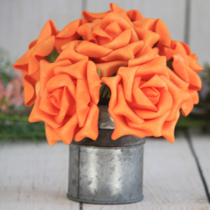 9Cm Artificial Decorative Wedding Orange Rose, 6Pcs/Bunch