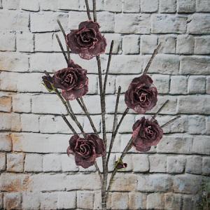 Fleur d'organza artificielle / décorative rose 5 fleurs
