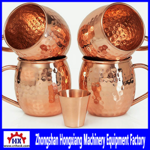 Handcrafted Copper Moscow Mule Mugs Processing in CNC Auto Metal Spinning Lathe Machines Equipment
