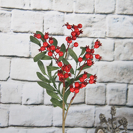 50cm Artificial Decorative Spray /pick With Red Berry/pomegranate