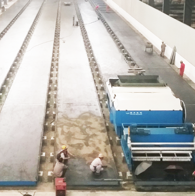 Precast long-line wallboard forming machine production line
