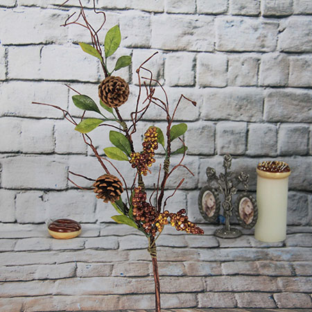 Artificial Decorative Spray /pick  With Red Berry/pine Cone