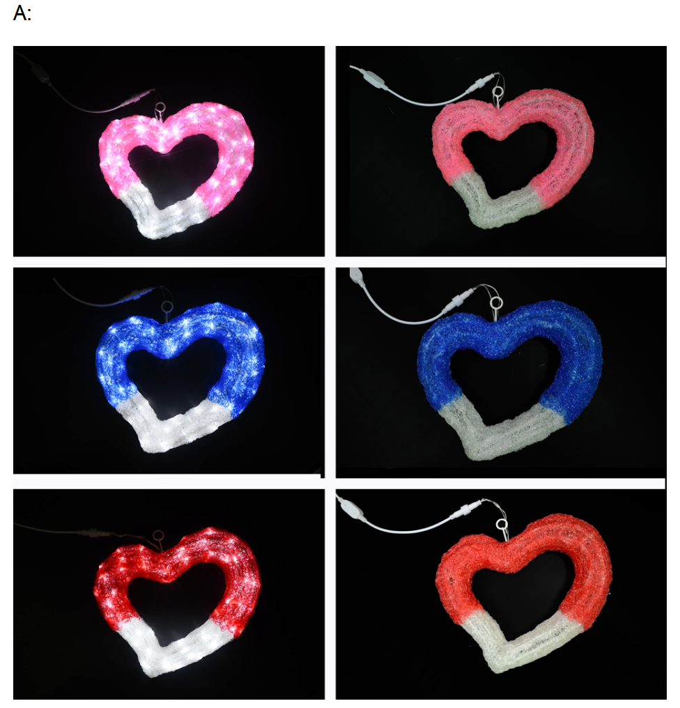 China manufacture decoration wedding heart motif light