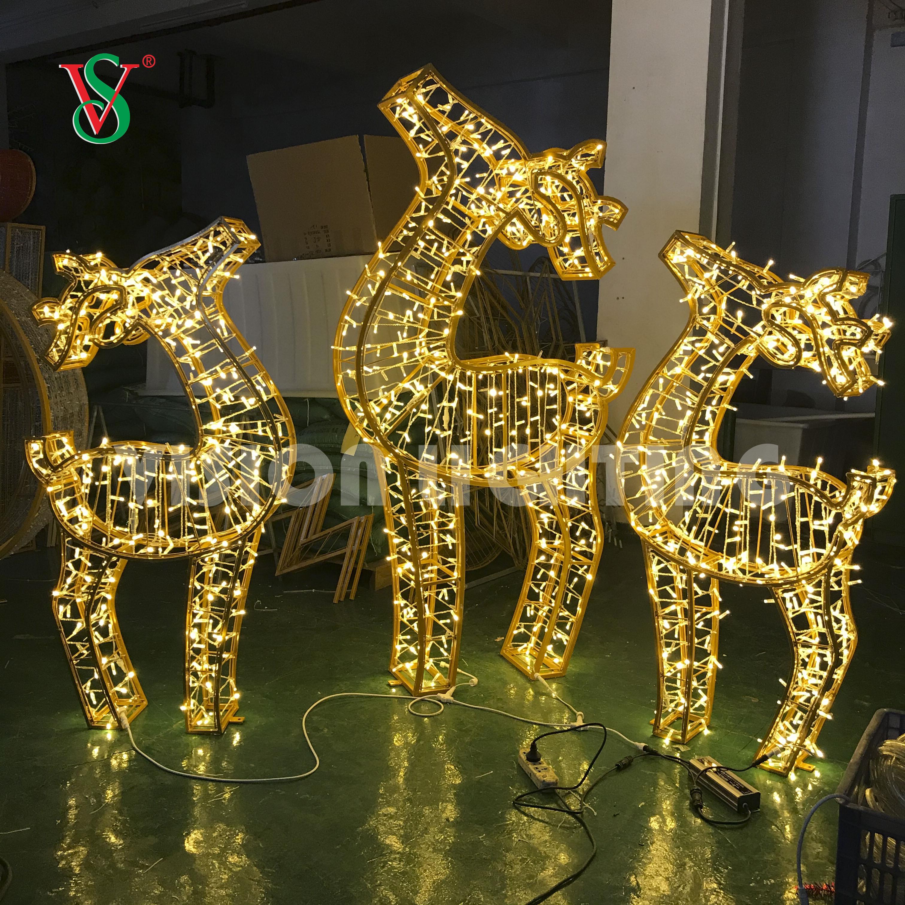 2020 New Design Led Reindeer String Light 3D Deer Decoration Lighting for Outdoor Indoor Use
