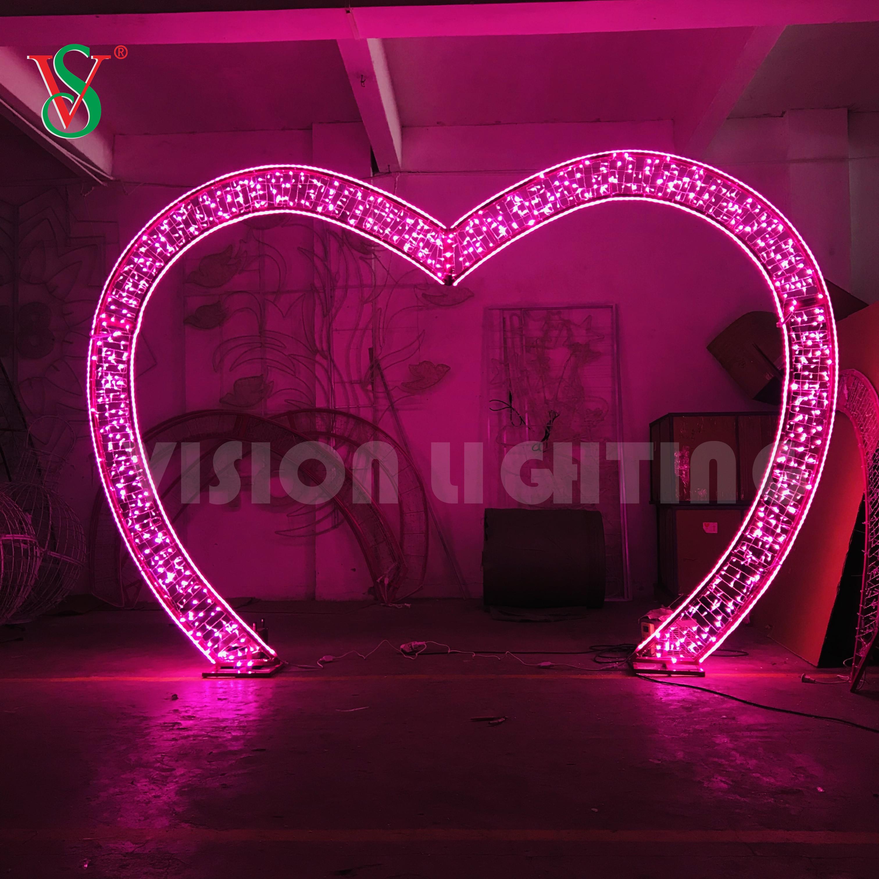 2D Steel Frame Passenger Aisle Romantic Heart Shape Motif Lighting Decoration for Valentine's Day & Wedding supplies