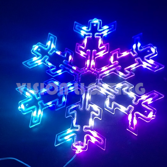 DMX RGB LED Decorative Hanging Lighted Snowflake for Outdoor Use