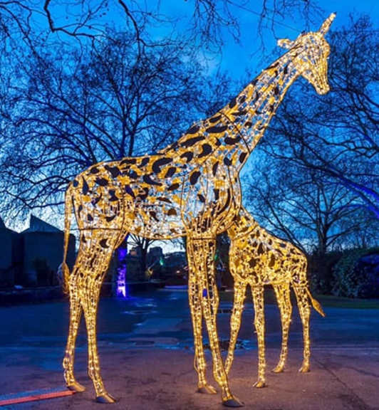 LED Escultura Luz Animal Lampara Jirafa Elefante Leon Caballo Vaca Navidad Tema Lampara Exterior Calle Plaza Decoracion