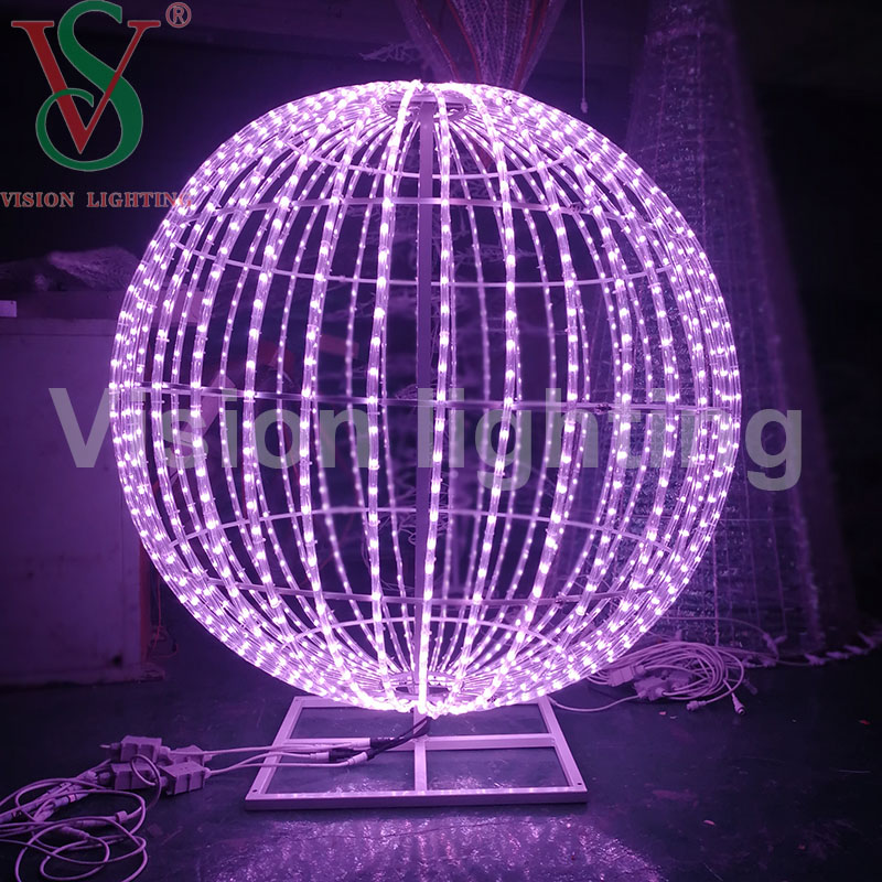 LED 3D Motif Christmas RGB DMX Round Ball Sphere Light for Outdoor decoration