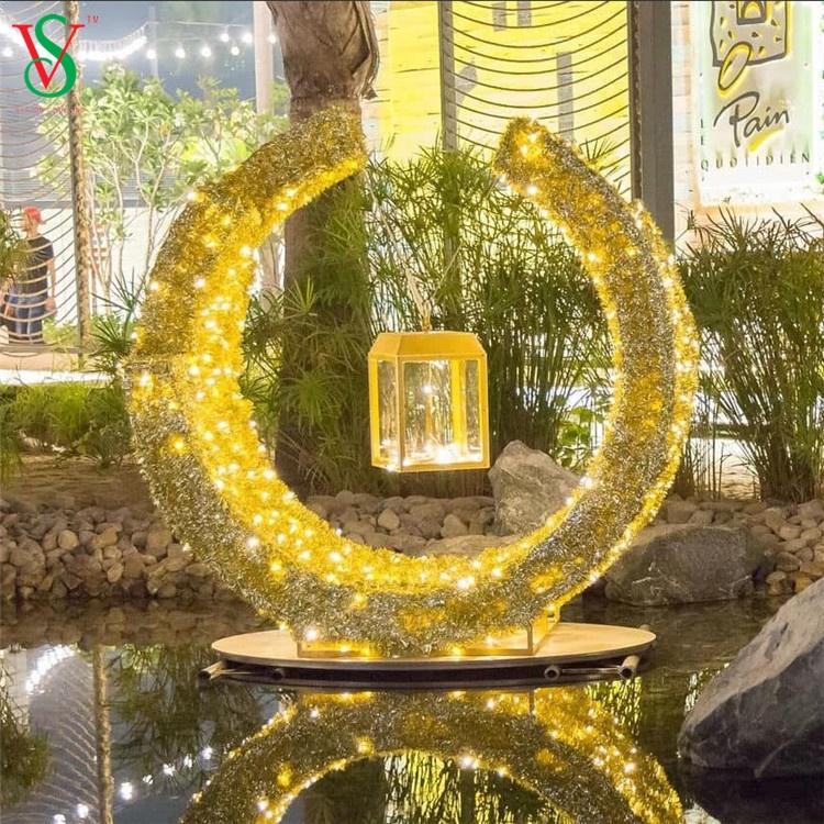 Outdoor Ramadan LED Motif Palm Tree Lights 3D Star Moon Decoration for Ramadan