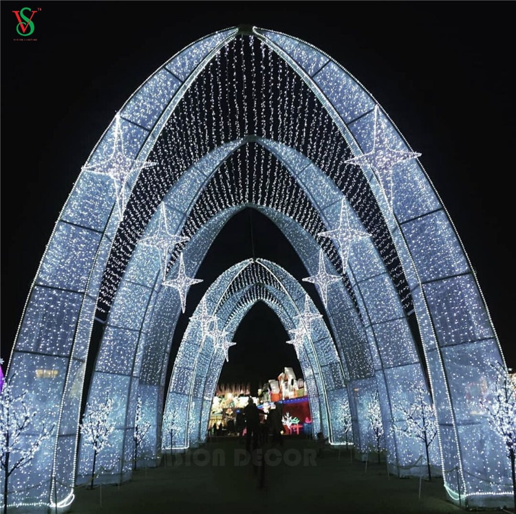 2021 LED Christmas Street Decoration Xmas Arch Motif Light for Outdoor Event