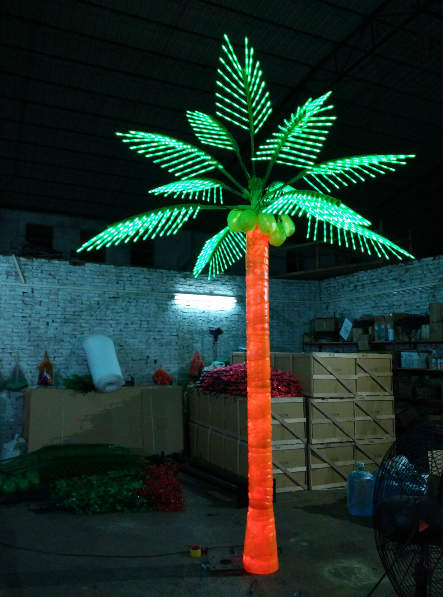 Outdoor Decoration Artificial Plant Fruit Coconut Tree Light Southeast Style Led Palm Tree Lights
