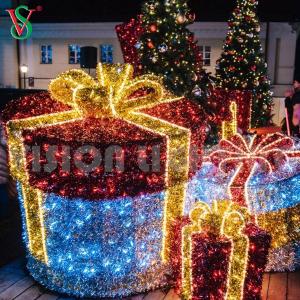 Decor Wholesale Xmas Metal Outdoor Led Decorative Merry Christmas Gift Boxes Light