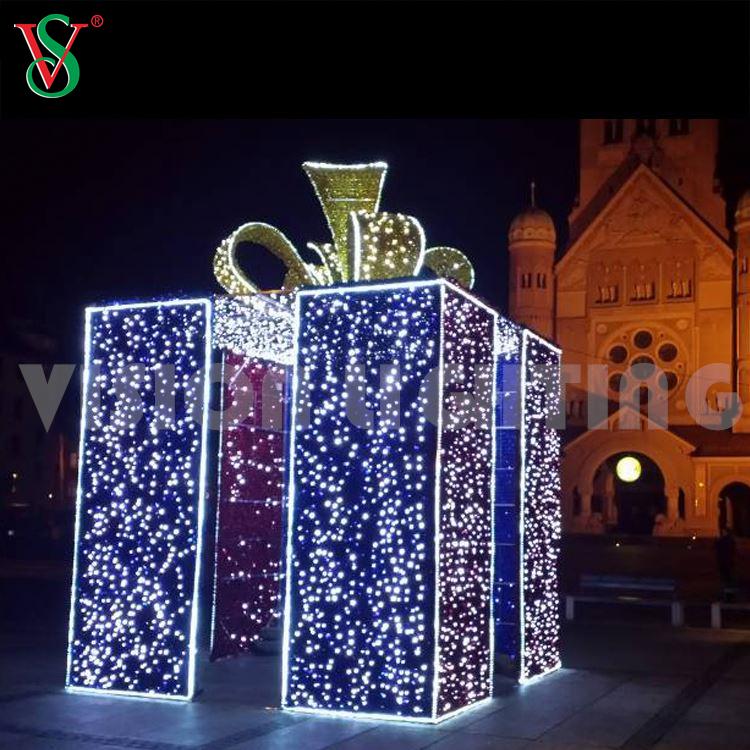 Gift Box Decoracion Luces de Navidad 3D Caja de Regalo Lampara