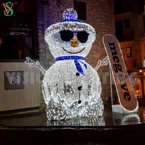 Holiday Decoration Led Christmas Snowman 3D Acrylic Sculpture Snowman Light