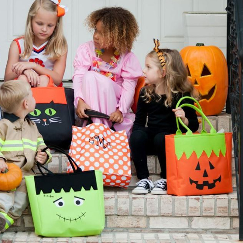 Handmade eco friendly felt pumpkin bag for halloween festival decoration