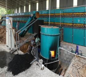Biomass burner heated 3 deck veneer roller dryer